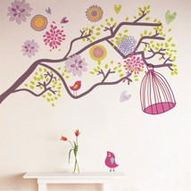 Wall Sticker Decal Colorful Flowers Birdcage