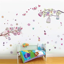 Wall Sticker Decal Pink Bird Cage