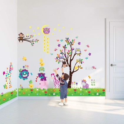 Wall Sticker Decal Happy Animals with Owl Tree Star and Little Chick