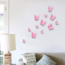 Walplus 3D Butterfly in Pink Wall Sticker