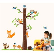 Wall Sticker Decal Fox Tree Height Measure